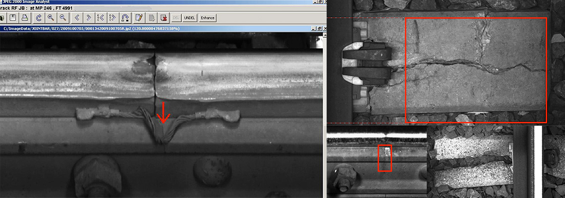 ENSCO's patented machine-vision technology, track imaging systems identify and inspect track components and defects.