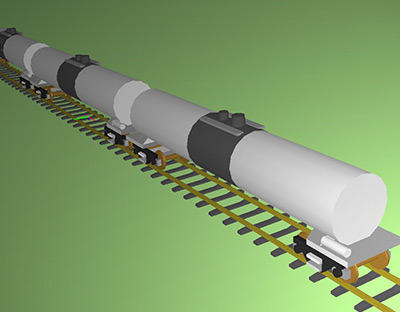 ENSCO Rail - Simulated tank cars using VAMPIRE vehicle/track interaction software.