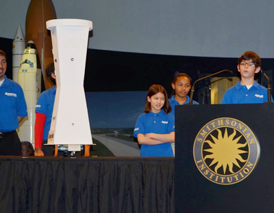 Members of the Robotics Inventors Club™ present at the Smithsonian, April 3, 2015.